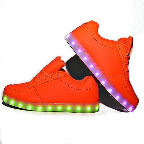 Envio 24 Horas Usay like Zapatillas LED Con 7 Colores Luces Carga USB Blanco Negro Dorado Plateado Rojo Hombre Mujer Unisex Talla 35 hasta 46 Envio Desde España (EU37, Rojo)