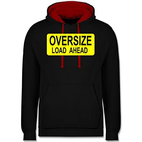 Trucker - Oversize load ahead Warnschild - Kontrast Hoodie Schwarz/Rot