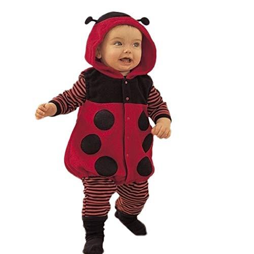 VICGREY ❤ Neonato Coccinella Costume Outfit, Bambino Manica Lunga Cartone Animale Felpa con Cappuccio Romper Neonato Bambino Ragazzi Ragazze Caldo Tuta Felpa Outwear 6-24 Mesi