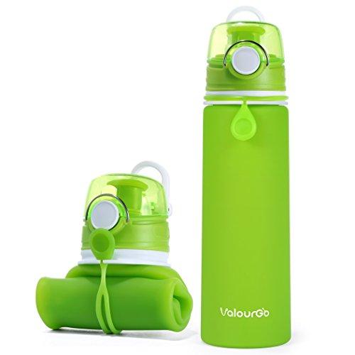 Valourgo Faltbare Wasserflasche mit Leck Sicherheitsventil - BPA Freies Silikon-Flasche Squeezy Trinkflasche für Sport Reisen Radfahren Camping - 600 Ml