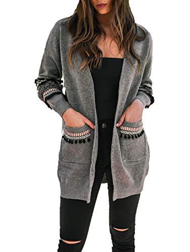 Ajpguot Strickjacke Damen Lang Mäntel Casual Langarm Cardigan Boho Patchwork Outwear Lose Coat mit Taschen, Herbst und Winter, Grau, XL