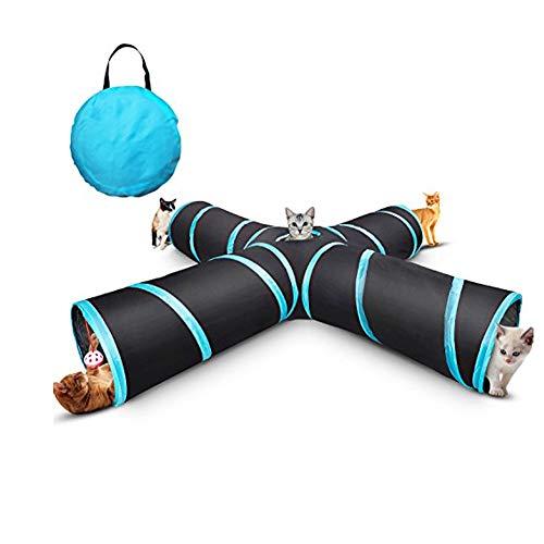 NaiCasy 4-Wege-Cat Tunnel, zusammenklappbare Pet Play Tunnel-Schlauch-Spielzeug mit Einer Glocke Spielzeug eines Soft-Ball Spielzeug für Katze, Welpe, Kitty, Kätzchen, Kaninchen