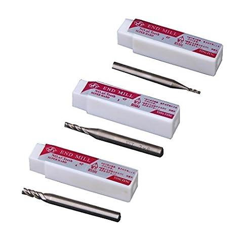 3 Stk. Schaft HSS Schaftfräser Schneidwerkzeug Mit 4-Flöte 2mm / 3mm / 4mm X 6mm