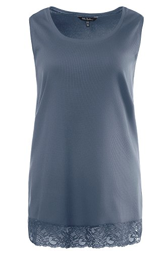 Ulla Popken Femme Grandes tailles Débardeur Femme Sans manches Vest T-shirt Coton Caraco Top t-shirt dentelle blouse courtes manches 704840 bleu-gris