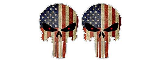 Punisher USA U.S. distressed Totenkopf Skull Back Off Ratrod Hotrod Terminator Aufkleber Sticker Decal Autocollants Pegatinas + Gratis Schlüsselringanhänger aus Kokosnuss-Schale + Auto Motorrad Laptop Notebook Koffer Skateboard Snowboard Tuning Racing Motorsport -