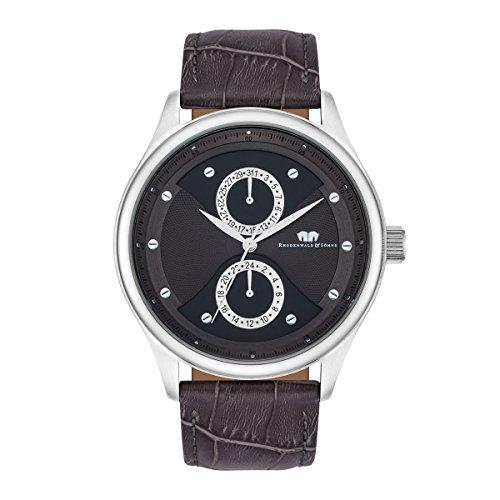 Rhodenwald & Söhne Calador Men's Multifunctions Watch Grey Bracelet in Genuine leather / real leather Grey Waterproof / Water-resistant 5 ATM 10010276
