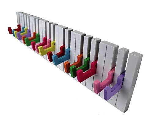 GMMH Design Wandgarderobe Kleiderhaken Hakenleiste 16 Haken Klavier Garderobe bunt Piano NEU
