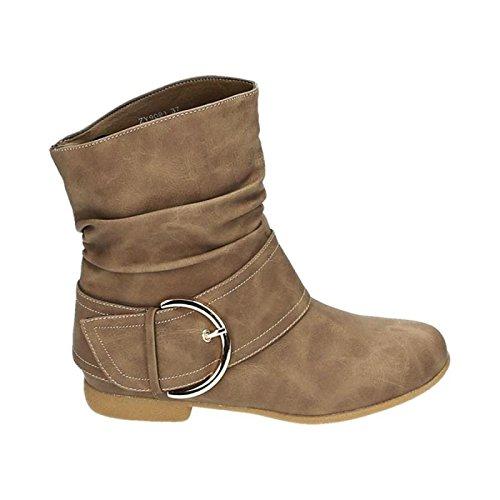 King Of Shoes Damen Stiefeletten Cowboy Western Stiefel Boots Flache Schlupfstiefel Schuhe 91 (38, Khaki)