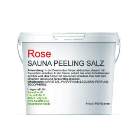 Premium Saunasalz (Salzöl) 500 Gramm Meersalz Peeling mit ÖL | Peeling Salz | Duschsalz | Sauna Salz Peeling | (Rose)