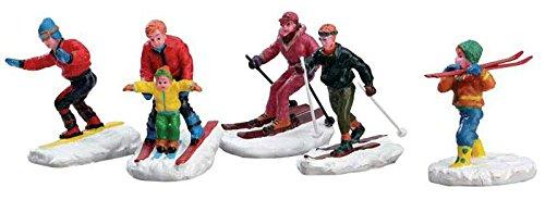 Lemax - Winter Fun Figurines - Skiläufer - 5er Set - Polyresin - Figuren & Zubehör für die eigene kleine Weihnachtswelt (Figuren Weihnachtsdorf)