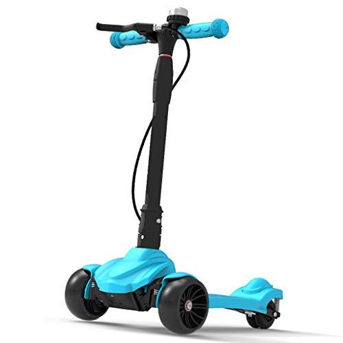 ZAQI Tretroller mit Handbremse, for Kinder, Kleinkinder, Mädchen, Jungen, Robuster Aluminiumrahmen 4, höhenverstellbar, lenkbar mit PU-Blinkrädern, Last 80 kg (Color : Blue) (Kleine Mädchen, Die Elektro-roller)