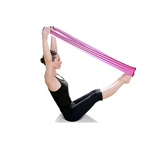 Pilates Yoga Workout Aerobic Stretchband Zugband Gummiband ,Colorful (TM) Premium Flexibilität Stretch-Band / Fitness-band / Gymnastik-band /Dehnband /für Yoga, Tanzen, Ballett & Training (Rosa) -