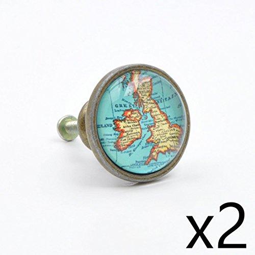 (2 Stück Set) Britische Inseln Gb Uk Map 3.37 cm Durchmesser, 1.75 cm Stablänge (Schublade-küche-insel 2)