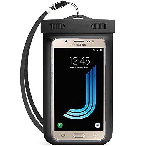 Semoss 2 in 1 Set Universale Cristallo Clear Trasparente Custodia Impermeabile per Samsung Galaxy J5 2016 Versione Cover Waterproof Borsa IPX8 con Cordoncino Subacquea Chiusura Ermetica,Compatibile con 4.0 a 5.7 Pollice Telefono Cellulare