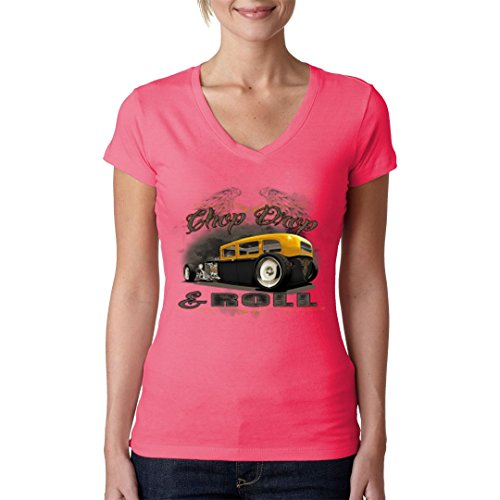 Hot Rod Girlie V-Neck Shirt - HOT ROD Shirt - chop drop roll by Im-Shirt Light-Pink