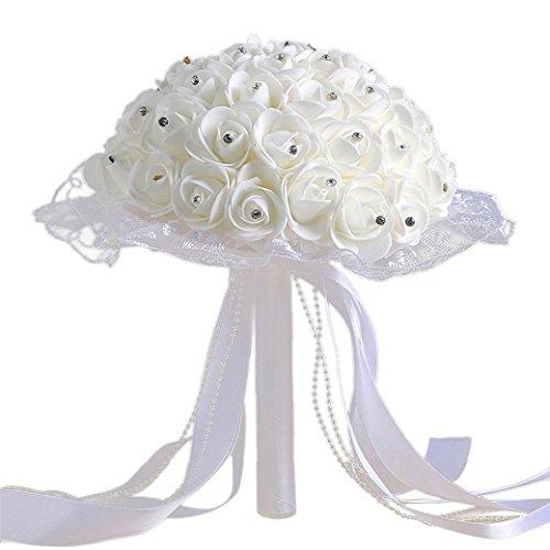 TIREOW Blumenstrauß Romantische Hochzeit Bunte Künstliche Hochzeitsstrauß Rosen Seidenblumen Kunstblumen Blumen Brautstrauß der Braut (E) (Einem Stuhl Baum Einen Machen Aus)