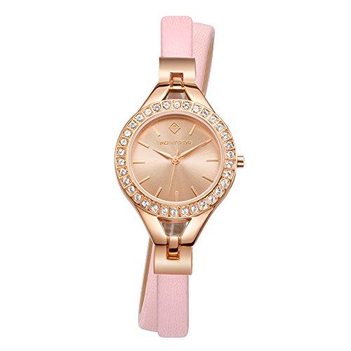 Damen Doppel Wrap (Rosa und Rose Gold Doppel Wrap Damen Armbanduhr - Swarovski Crystal verschönert)