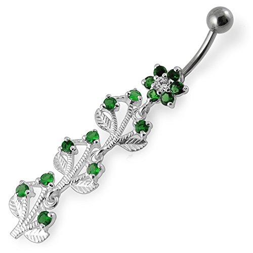 Feuille et Pierre en cristal fleur tendance Design en argent 925 avec acier inox Belly Dark Green