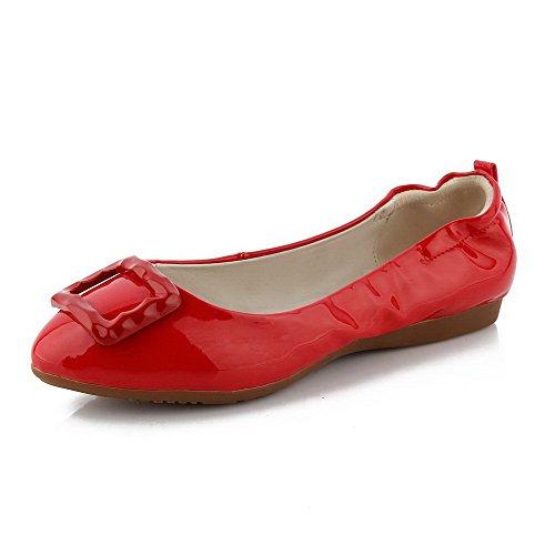 VogueZone009 Damen Lackleder Niedriger Absatz Ziehen Auf Rein Flache Schuhe Rot