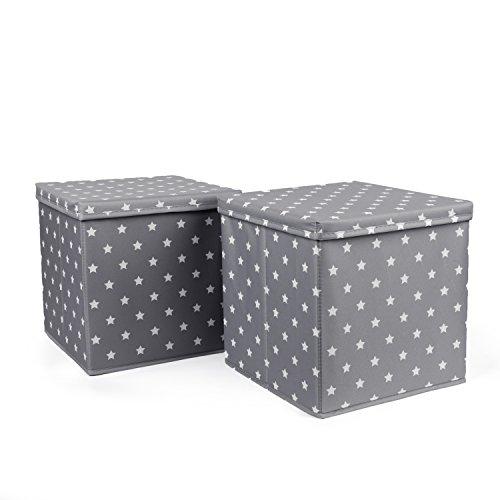 HOMIE 2er SET Ordnungsbox, Aufbewahrungskiste, Aufbewahrungsbox, Spielzeugkiste, extra stabil mit MDF Wand (30 x 30 x 30 cm) Grau mit Sternen