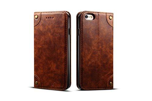 Retro-Lederschutzhülle für Apple iPhone 6/6S, Kartenfächer, Standfunktion, strapazierfähig, Unisex, für Männer und Frauen, Khaki