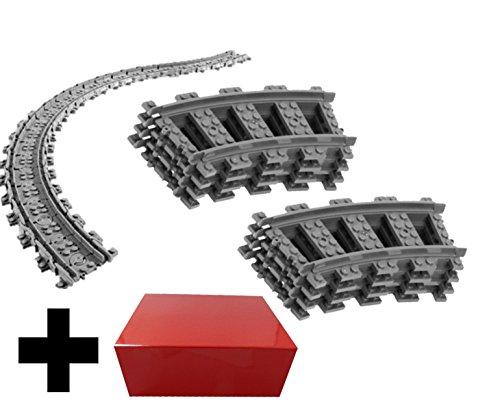 8x Gebogene Kurvenschienen Gleise + 16x Flexible Schienen Gleise - Lego Gebogene und Flexible Schienen Gleise, City ferngesteuerter Zug, für Lego City Eisenbahn (Lego City Eisenbahn-set)
