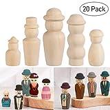 Peg-Puppen-Set aus Holz, unlackierte Puppenkörper zum Selbstgestalten, Heimwerken, Dekorationsartikel, Set mit 20Stück