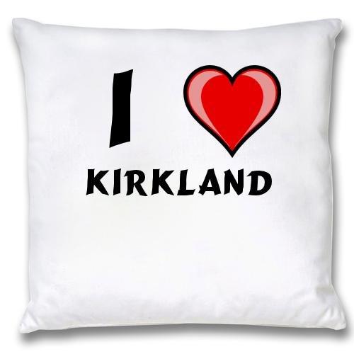 Weißer Kopfkissenbezug mit Ich liebe Kirkland (Vorname/Zuname/Spitzname)