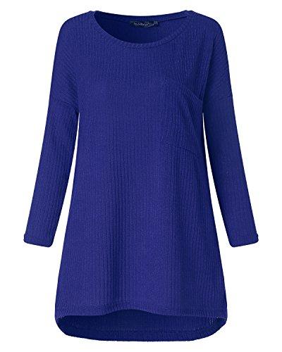 ACHIOOWA Damen Oversize Shirt Herbst Casual Schulterfrei Jumper Unregelmäßigen Stretch Tops mit Tasche Blau