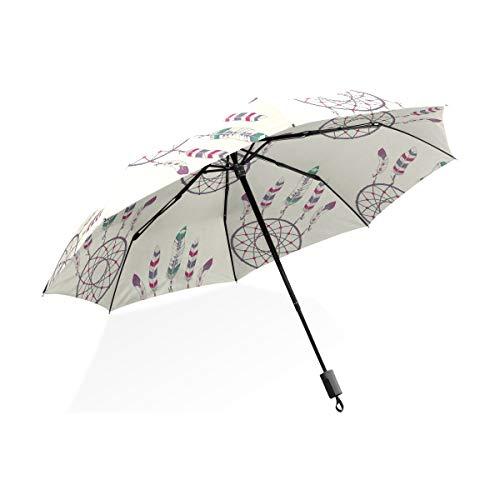 ISAOA Paraguas de Viaje automático, patrón de Paraguas Plegable con atrapasueños, Resistente al Viento, Ultra Ligero, protección UV, asa compacta para fácil Transporte para Mujeres y Hombres