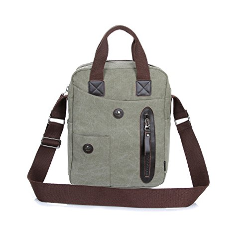 DOXUNGO Unisex Handtasche Segeltuch Fashion Umhängetasche Herren Damen für Bussiness Arbeit Freizeit Reisen Wandern Fahrradfahren Armee-grün