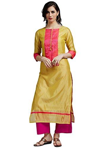 Jaipur Kurti Women's Chanderi Kurta with Rani Rayon Palazzo (Yellow)