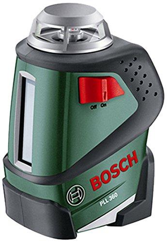 Bosch DIY Linienlaser PLL 360 Set, Stativ, Halterung, 4x AA-Batterien, Schutzasche (Arbeitsbereich 20 m, Messgenauigkeit ± 0,4 mm/m)