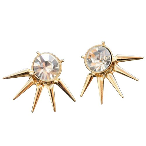 yazilind-jewellery-vogue-golden-cool-western-punk-rivet-with-sparkling-crystal-stud-earrings