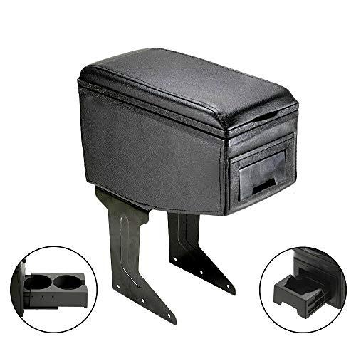 CarJoy, 42007, bracciolo centrale universale per auto, portaoggetti in ecopelle nero