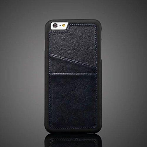 PU-lederner rückseitiger Abdeckungs-Fall mit Einbauschlitzen für IPhone 6 u. 6s ( Color : Black ) Blue