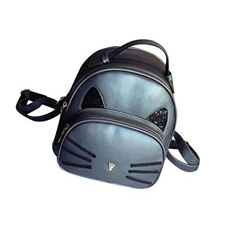 WTUS Damen Neue Nette Kätzchen Umhängetasche Korean Weibliche Mode-Trend Rucksack Schulter Messenger Bag Kleine Tasche Wild Daypacks Schultasche Grau