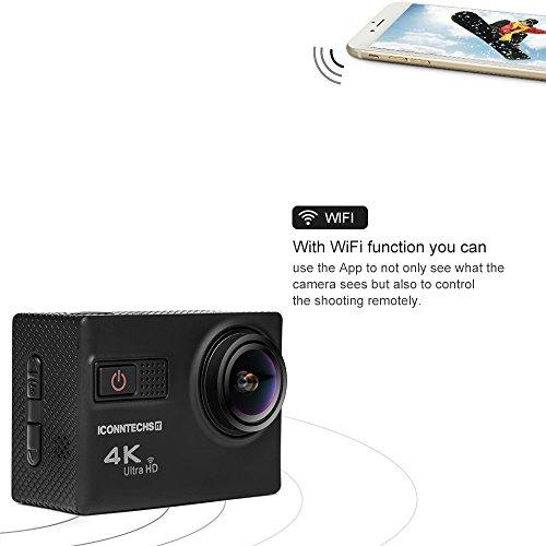 ICONNTECHS IT 4K Ultra HD Wasserfeste Sport-Actionkamera, 170° Weitwinkellinse, Full HD 1080P WiFi HDMI camcorder, Gratis Zubehör für Helm, Tauchen, Radfahren und Extremsport - 4