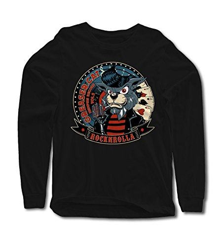 Skull Long Sleeve Tee (Longsleeve Greaser Cat S-4XL Rockabilly Travolta 50er 60er 70er Vegas Skull Luck)