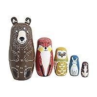 TOPofly Animal Matryoshka Doll 5Pcs Wooden Stacking Doll Toy Creative Kids Toddler Gift Cartoon Russian Nesting Doll