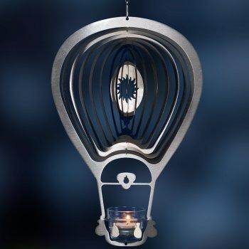 Mobile en acier inoxydable - ORBIT BALLON SONNE 300 - 34 x 22,5 cm - inclus porte-lampe à thé, fil en nylon, crochet et émerillon à roulement à billes