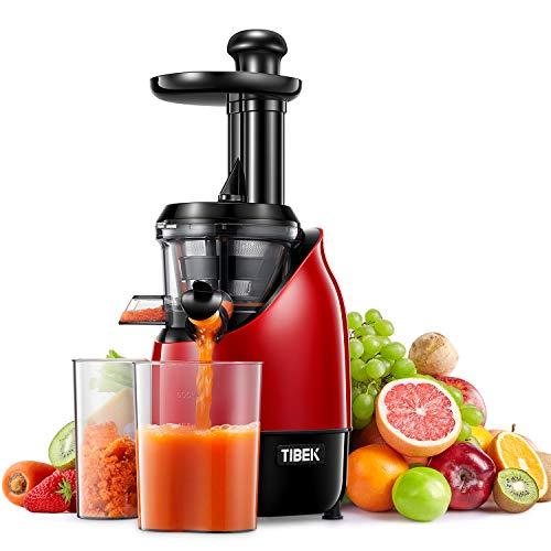 Entsafter Slow Jucier TIBEK Entsafter Kauen Gemüse und Obst Profi Saftertrag Saftpresse | Ruhiger Motor | Umkehrfunktion | Saftbehälter | Reinigungsbürste | Rezepte für Gemüse und Früchte | BPA-frei