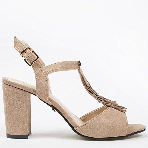 Ideal-Shoes Sandali con Lama spessa, effetto pelle con frange Loreane Beige (Beige)