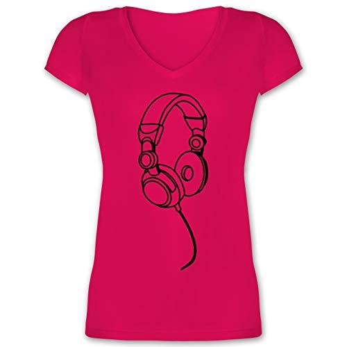 DJ - Discjockey - Kopfhörer Musik - XS - Fuchsia - XO1525 - Damen T-Shirt mit V-Ausschnitt