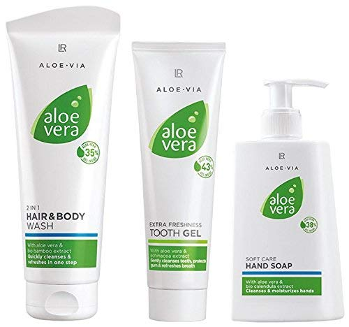 LR Aloe via Aloe Vera mains Savon Hygiène Kit (250 ml, shampooing 250 ml, gel à dents 100 ml)