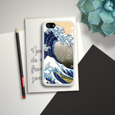 Apple iPhone 5c Housse Étui Protection Coque Katsushika Hokusai Japon Art Housse en silicone blanc