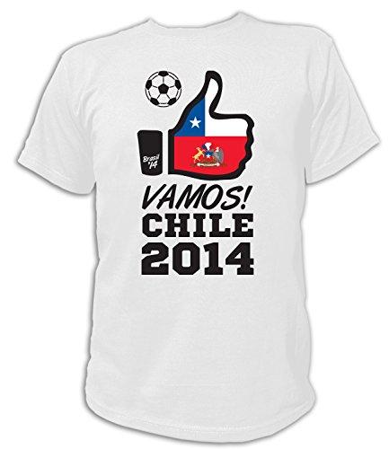 Artdiktat Herren Fan T-Shirt - Vamos Chile - 2014 - Like Brasil 14 Größe L, weiß