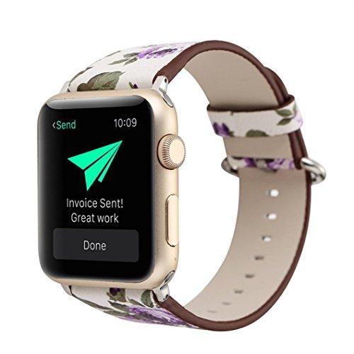 Signore orologio digitale,sonnena orologio sport donna elegante orologio smartwatch cinturino di ricambio in cinturino in pelle floreale per orologio apple 38mm (bianco viola, standard)