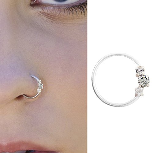 PCM White Swarovski 925 Sterling Silver Nose Pin For Women
