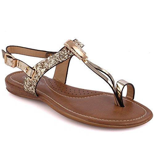 Unze Femmes nouvelles 'Fotios' Flat Décoré Open Toe T-Strap Carnaval Flat Summer Sandals Taille de la chaussure 3-8 Or
